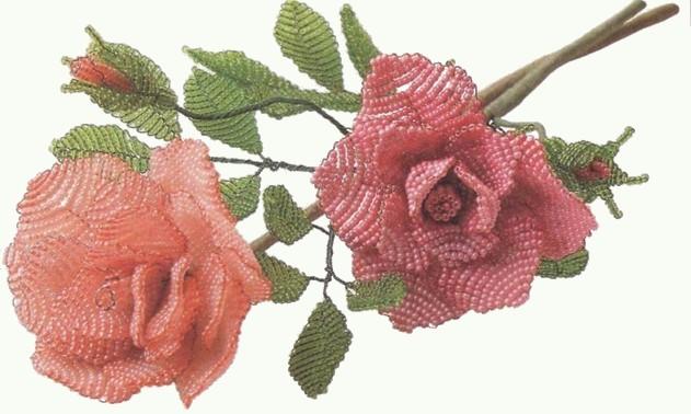 Плетение розы из бисера.