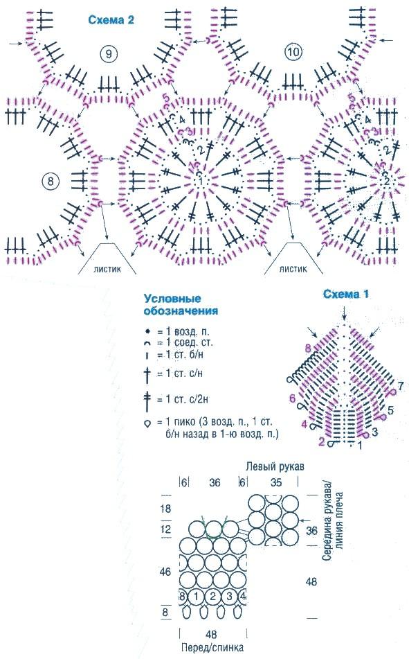 схема черного полувера из круговых мотивов